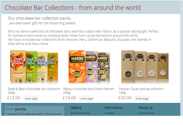 Chocolate Gourmet website preview